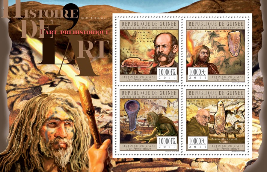 Prehistoric Art. - Issue of Guinée postage stamps