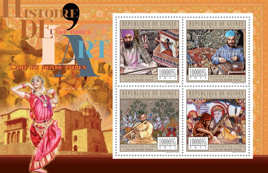 Indian Art World. - Issue of Guinée postage stamps