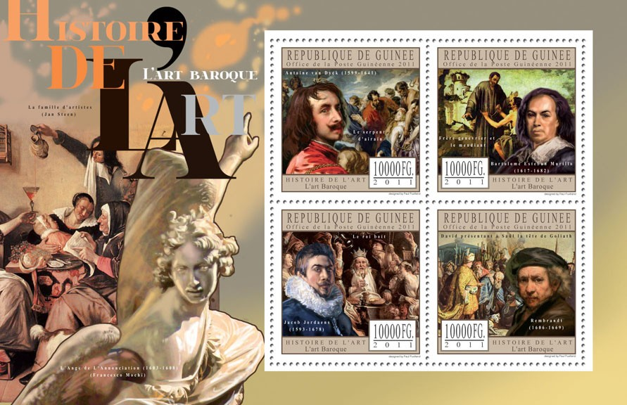 Baroque Art. - Issue of Guinée postage stamps