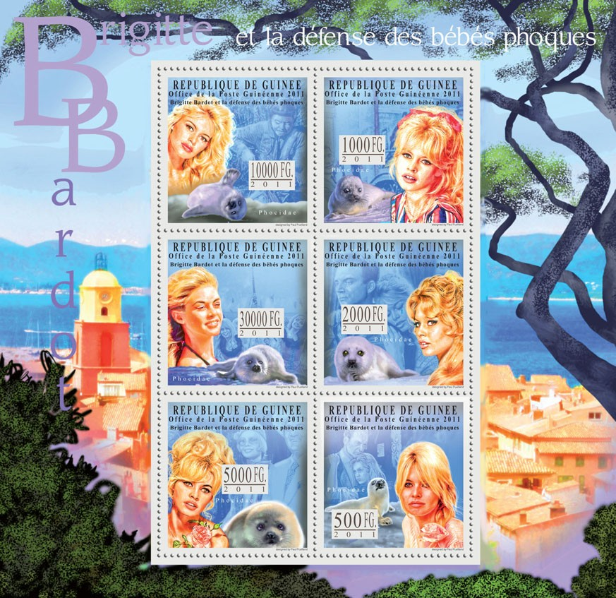Brigitte Bardot, (Defense Baby Seals). - Issue of Guinée postage stamps