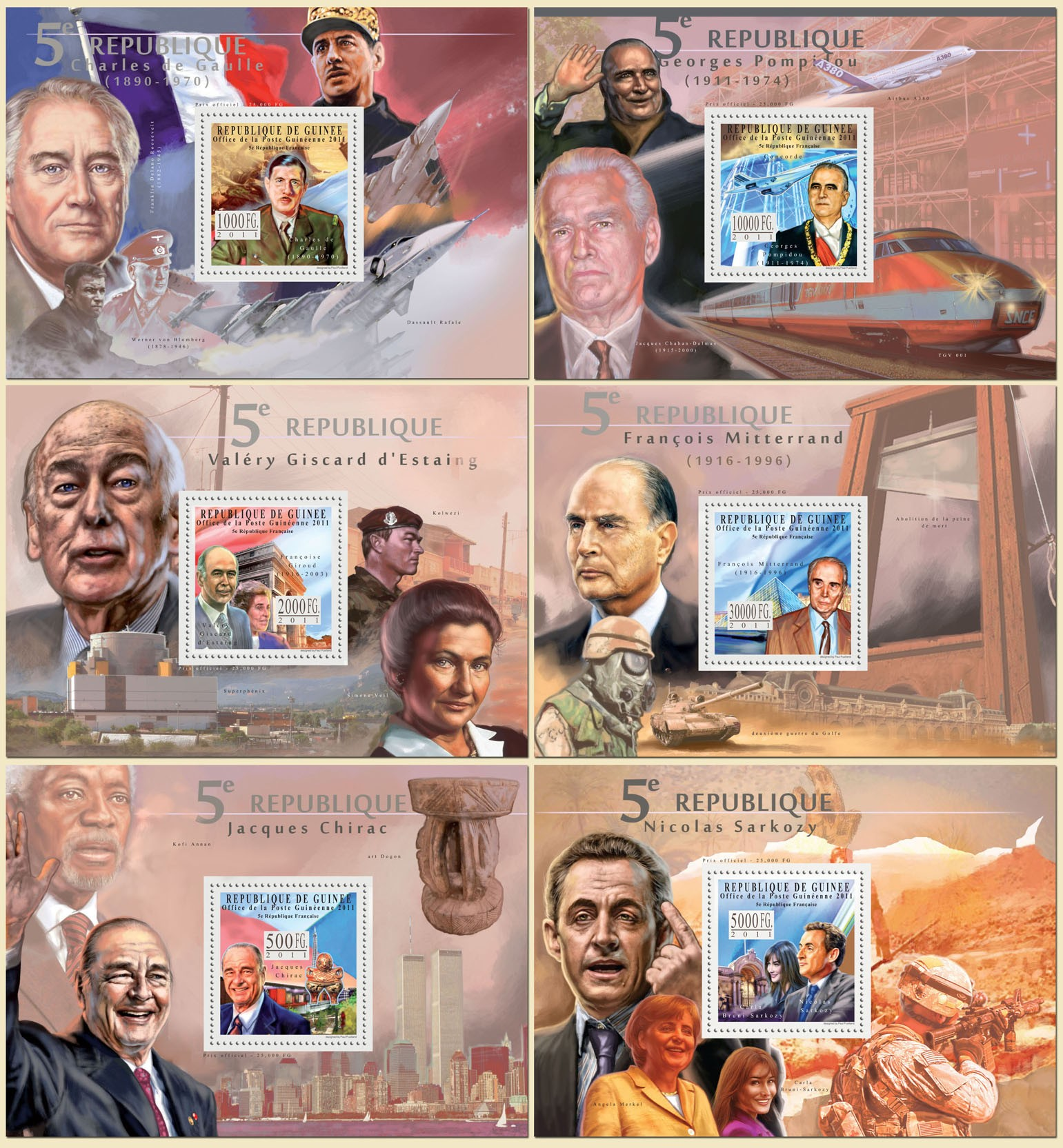 (6 diff. deluxe s/s) 5th French Republic. (C. de Gaulle, G.Pompidou, V.Giscard d?タルEstaing, F.Mitterrand, J.Chorac, N.Sarcoz) - Issue of Guinée postage stamps