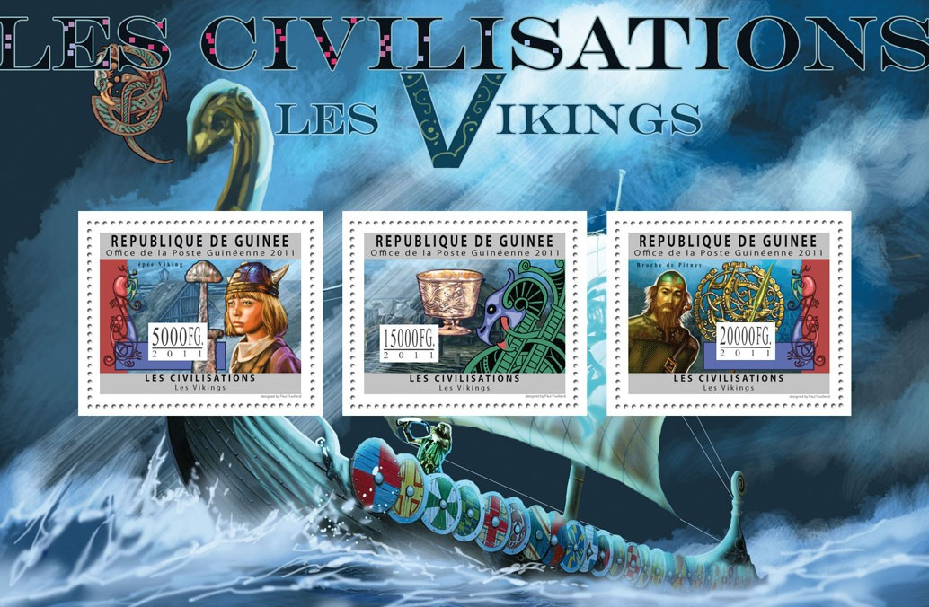 Civilization of Vikings. - Issue of Guinée postage stamps