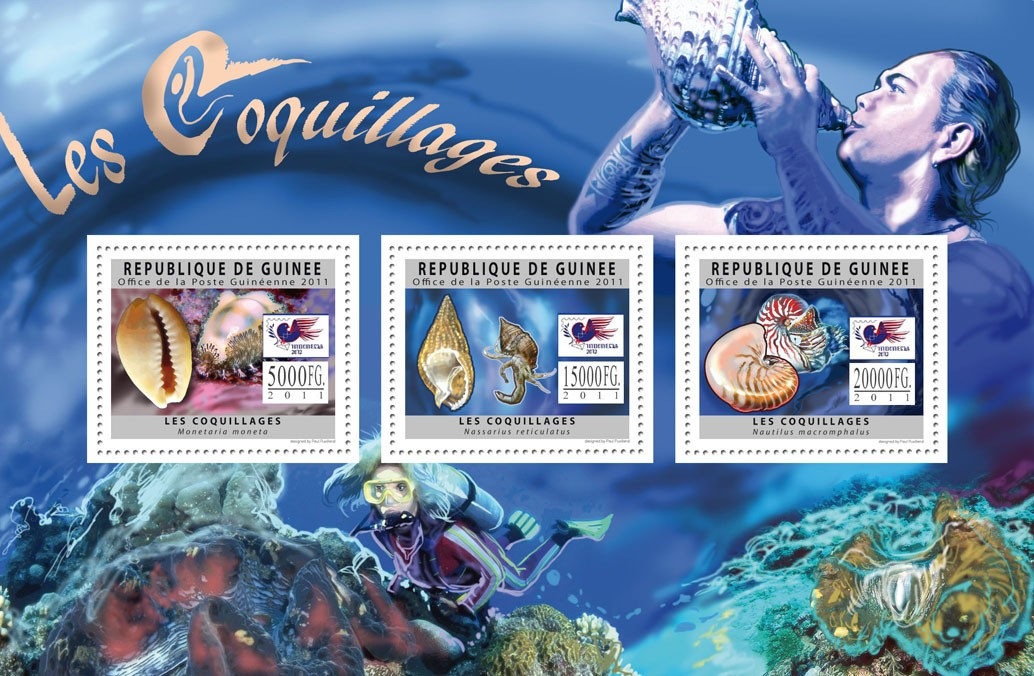 Shells, (World Stamp Exhibition - Indonesia 2012, Jakarta). - Issue of Guinée postage stamps