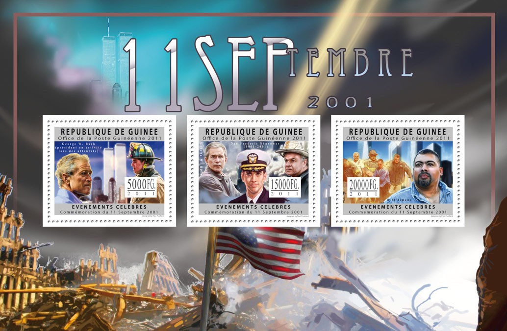 Commemoration of 11 September 2001. - Issue of Guinée postage stamps