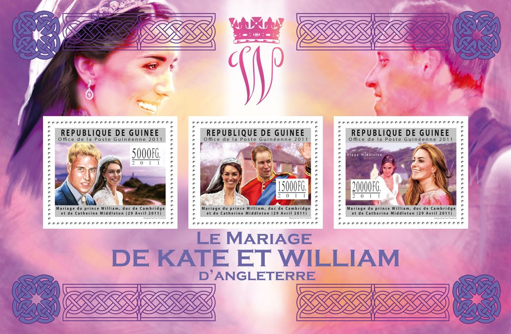 Royal Weddings - Prince William & Katherine Middleton. - Issue of Guinée postage stamps