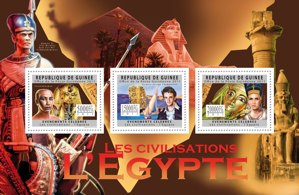 Civilization of Egypt. - Issue of Guinée postage stamps
