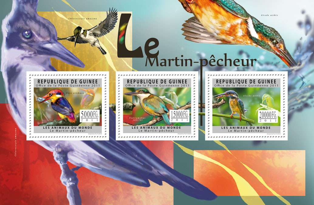 Kingfishers. - Issue of Guinée postage stamps
