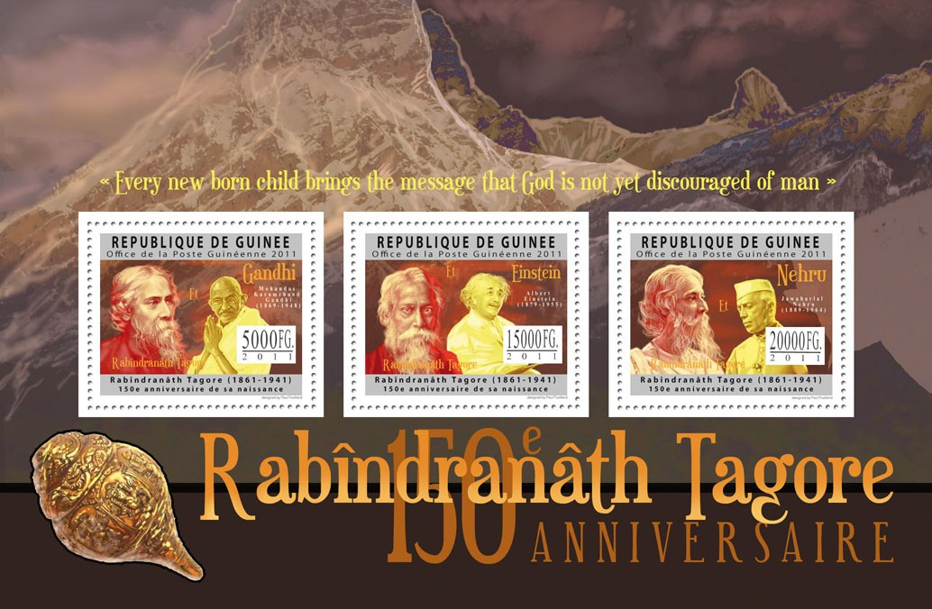 150th Anniversaire of Rabindranath Tagore, (1861-1941). - Issue of Guinée postage stamps