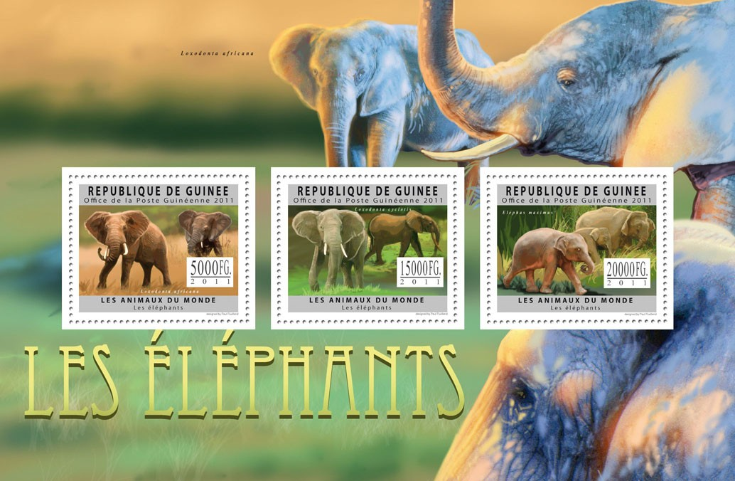 Elephants, (Loxondonia Africana, Elephas maximus). - Issue of Guinée postage stamps