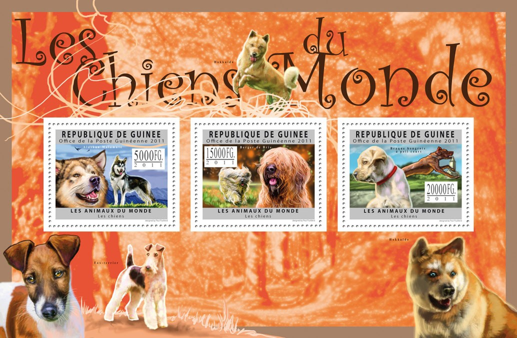 Dogs of the World II. - Issue of Guinée postage stamps