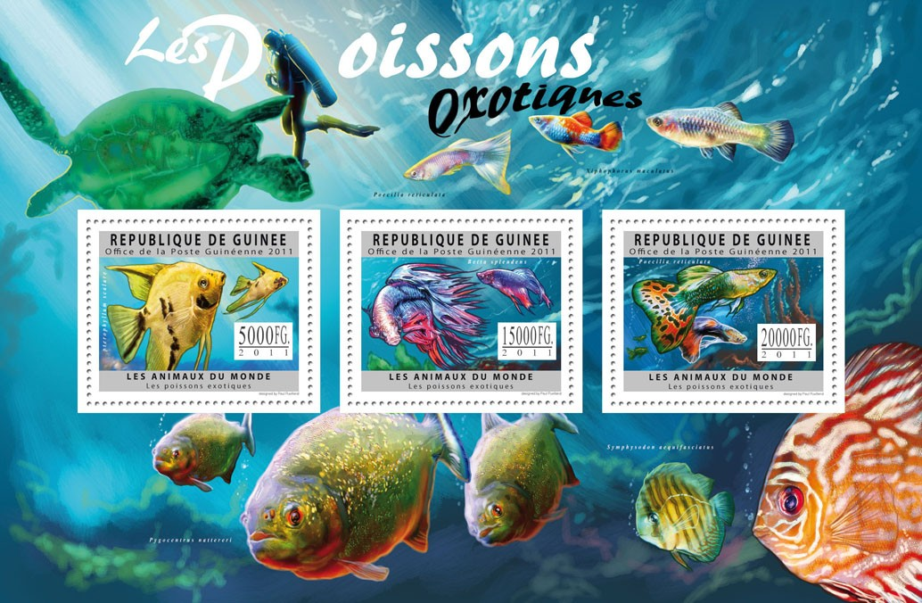 Exotic Fiches, (Ptehophyllum, Poecilia reticulata). - Issue of Guinée postage stamps