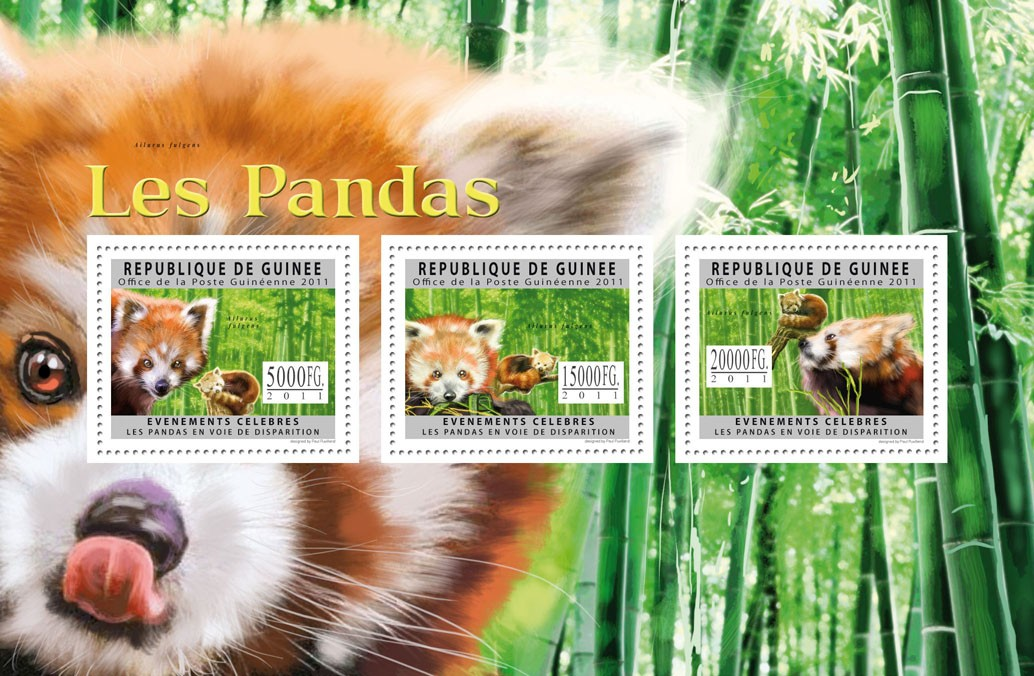 Pandas, (Ailurus fuigens). - Issue of Guinée postage stamps
