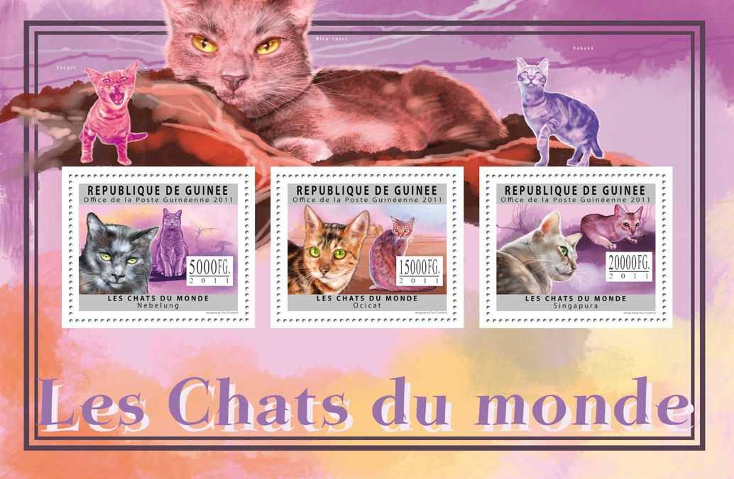 Cats of the Word, II. - Issue of Guinée postage stamps