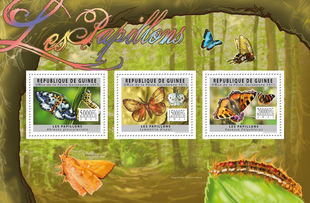 Butterflies, (Abraxas grossulariata, Vanessa Polychloros). - Issue of Guinée postage stamps