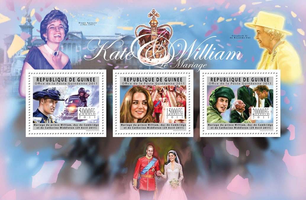 Royal Wedding II - Prince William & Katherine Middleton. - Issue of Guinée postage stamps