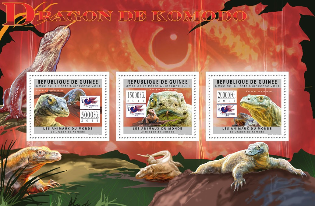 Komodo Dragons, (Varanus komodoensis). - Issue of Guinée postage stamps