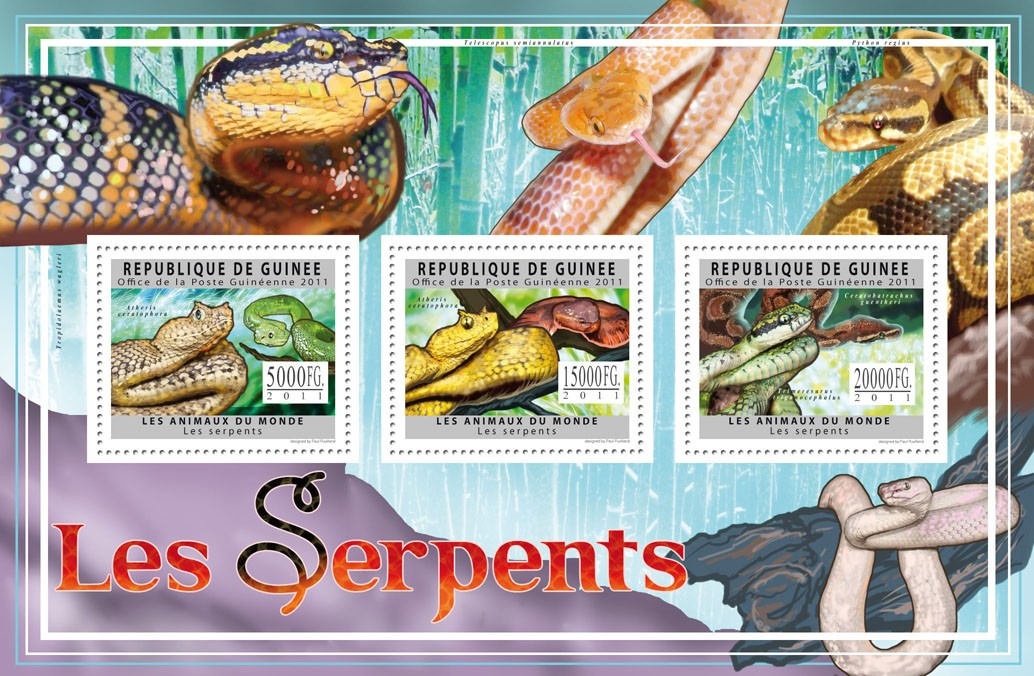 Snakes, (Atheris ceratophera). - Issue of Guinée postage stamps