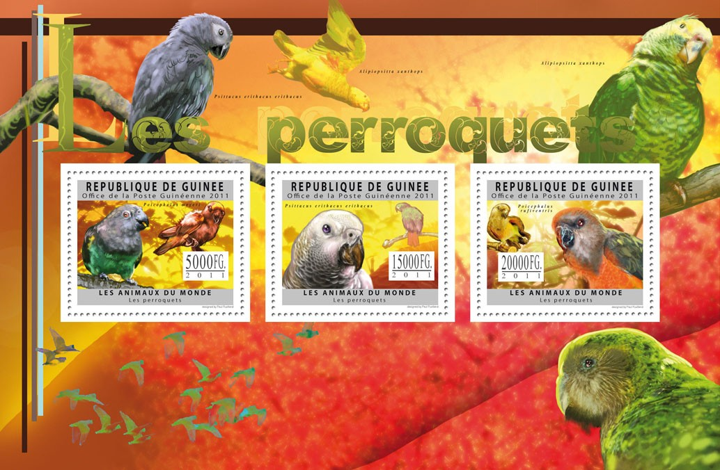 Parrots, (Poicephalus meyeri, Poicephalus rufiventris). - Issue of Guinée postage stamps