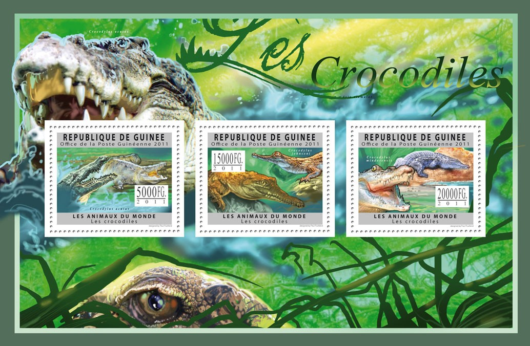 Crocodiles, (Crocodylus acutus, mindorensis). - Issue of Guinée postage stamps
