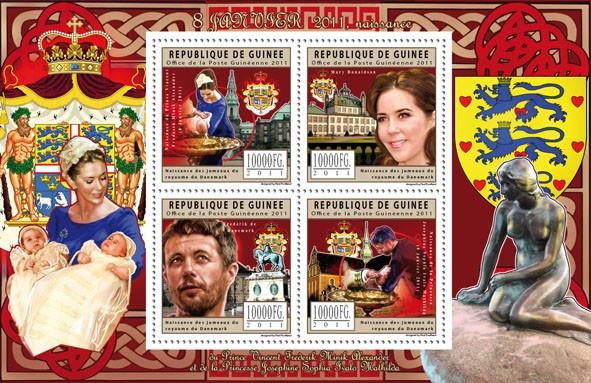 Birth of Prince of Denmark,  (Vincent Frederik Minik Alexander & Josepine Sophia Ivalo Mathilda). - Issue of Guinée postage stamps