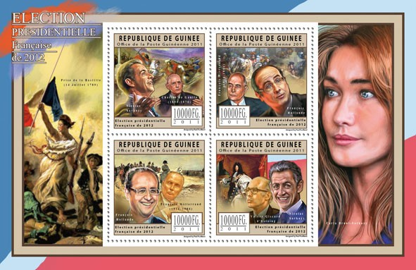 French Presidents Election of 2012. - Issue of Guinée postage stamps