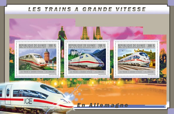 Germany Trains, (Mannheim, Hanovre, Wurtzbourg). - Issue of Guinée postage stamps