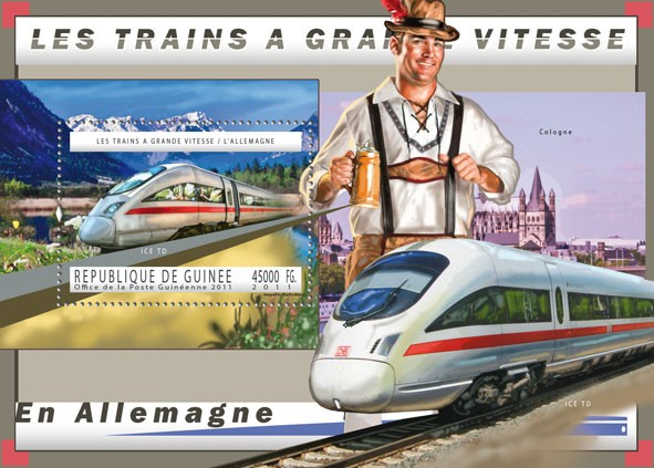 Germany Trains, (ICE TD). - Issue of Guinée postage stamps