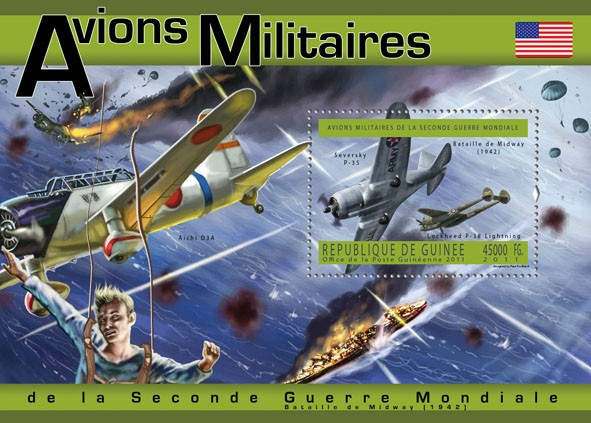 USA Military Aircrafts, (Seversky P-35, Lochheed P-38). - Issue of Guinée postage stamps