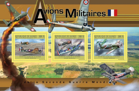 French Military Aircrafts,  (Curtiss P-36 Hawk, Bloch MB 152, Morana-Saulnier MS 406). - Issue of Guinée postage stamps