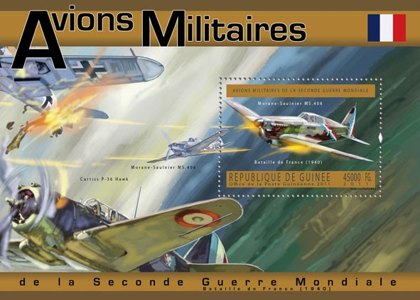French Military Aircrafts, (Morane-Saulnier MS 406). - Issue of Guinée postage stamps