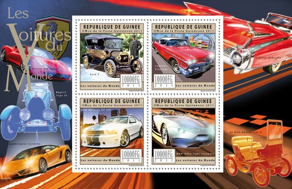 Cars of the World, (Ford, Cadillac, BMW). - Issue of Guinée postage stamps