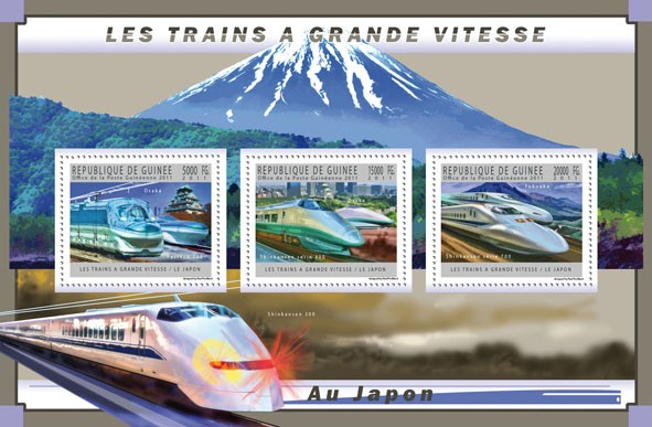 Japanese High-Speed Trains, (Fastech 360, Shinkansen 400 & 700). - Issue of Guinée postage stamps