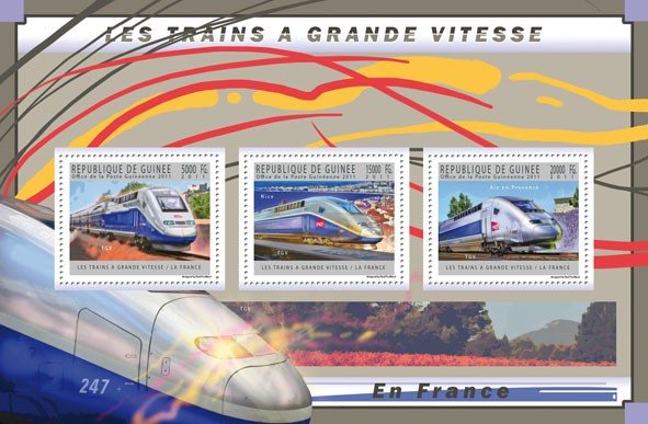 French High-Speed Trains, (TGV). - Issue of Guinée postage stamps