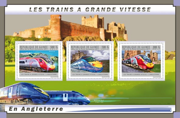English High-Speed Trains,  (Alstom Class 390 Pendolino, British Ralf Class 395). - Issue of Guinée postage stamps