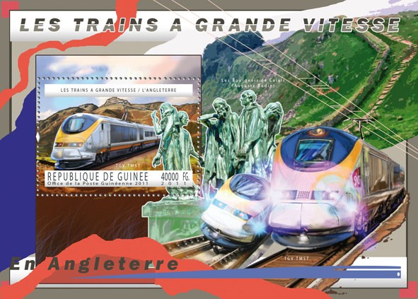 English High-Speed Trains, (TGV TMST). - Issue of Guinée postage stamps