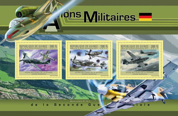 German Military Aircrafts, (Messerschmitt Bf 109 G & Me 262). - Issue of Guinée postage stamps