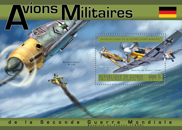 German Military Aircrafts, (Messerschmitt Bf 109). - Issue of Guinée postage stamps