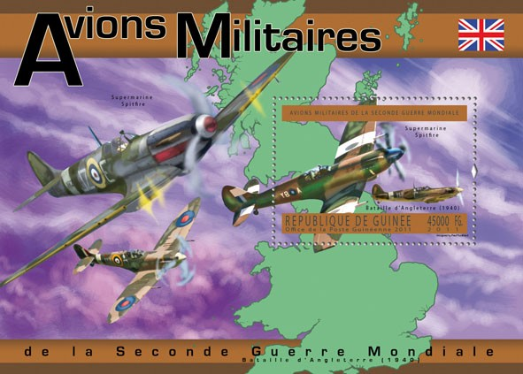 English Military Aircrafts, (Supermarine Spitfire). - Issue of Guinée postage stamps