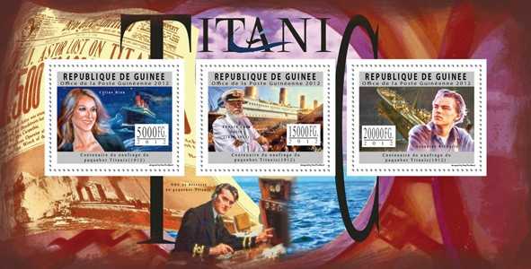 Titanic, (Celine Dion, E.J.Smith, L.DiCaprio). - Issue of Guinée postage stamps