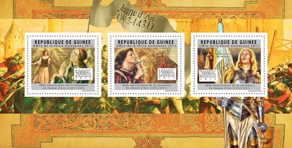 Jeane d'Arc, (1412-1431). - Issue of Guinée postage stamps