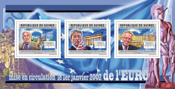 Euro, Circulation from 01.01.200,  (R.A.Mundell, J.C.Jucker, T.P.Schioppa). - Issue of Guinée postage stamps