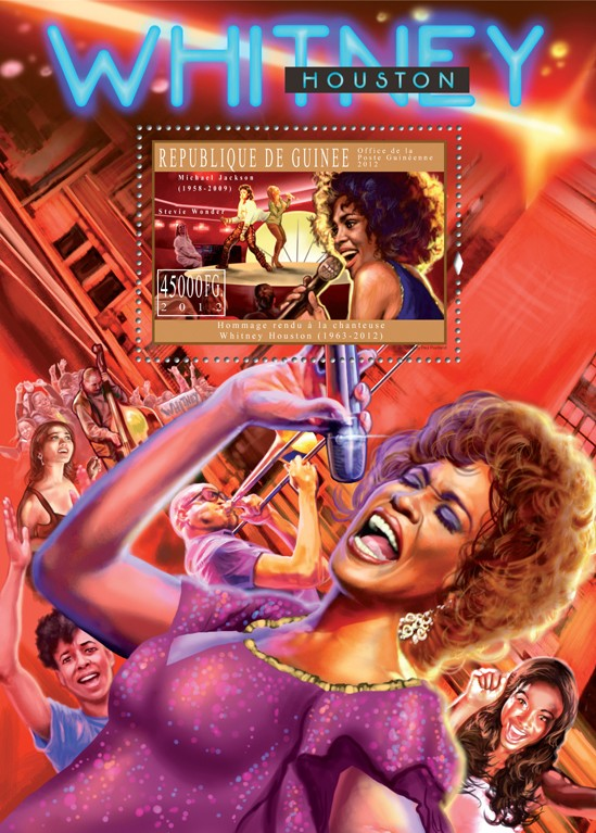 Tribute to Whitney Houston, (1963-2012). - Issue of Guinée postage stamps