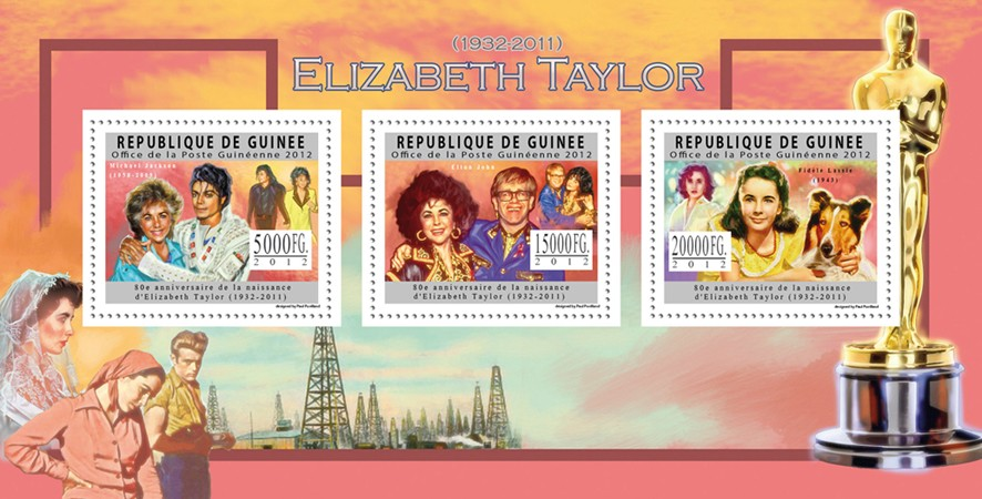 Elizabeth Taylor, (1932-2011), Cinema. - Issue of Guinée postage stamps
