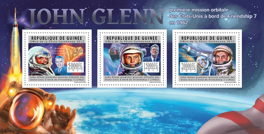 John Glen, First Space Mission 1962. - Issue of Guinée postage stamps