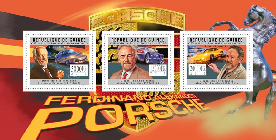 Ferdinand Alexander Posrche, (1935-2012), Cars. - Issue of Guinée postage stamps