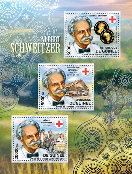 Albert Schweitzer / Red Cross, (1875-1965). - Issue of Guinée postage stamps