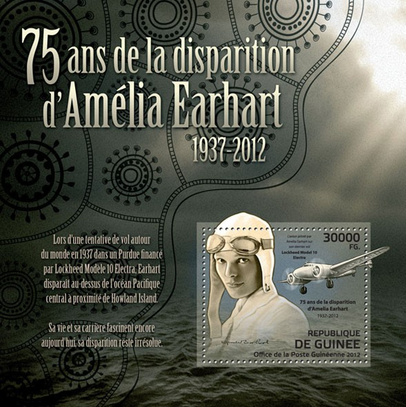 75th anniversary of the disappearance of Amelia Earhart, (1937-2012), (Lockheed Model 10 Electra). - Issue of Guinée postage stamps