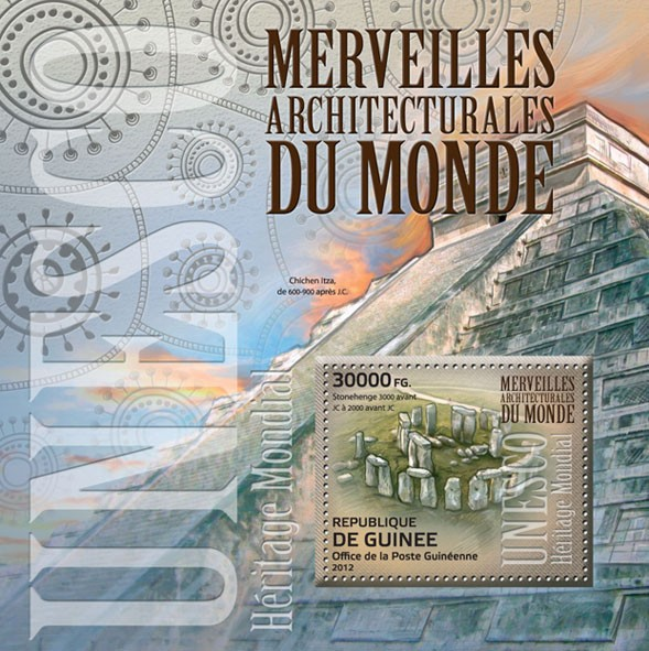 Architectural wonders of the world, (Stonehenge). - Issue of Guinée postage stamps