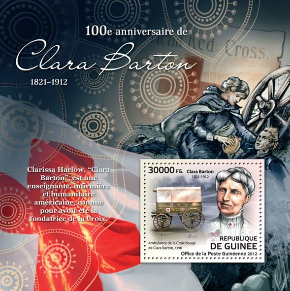 100th Anniversary of Clara Barton / Red Cross, (1821-1912), (Clara Barton Red Cross ambulance, 1898). - Issue of Guinée postage stamps