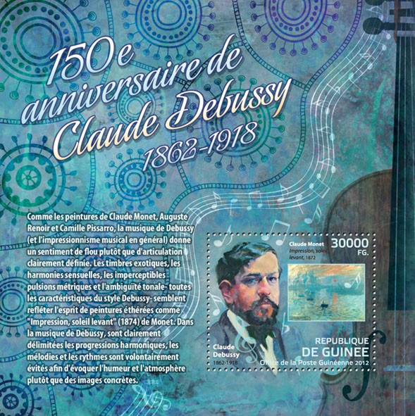 150th Anniversary of Claude Debussy, (1962 - Issue of Guinée postage stamps